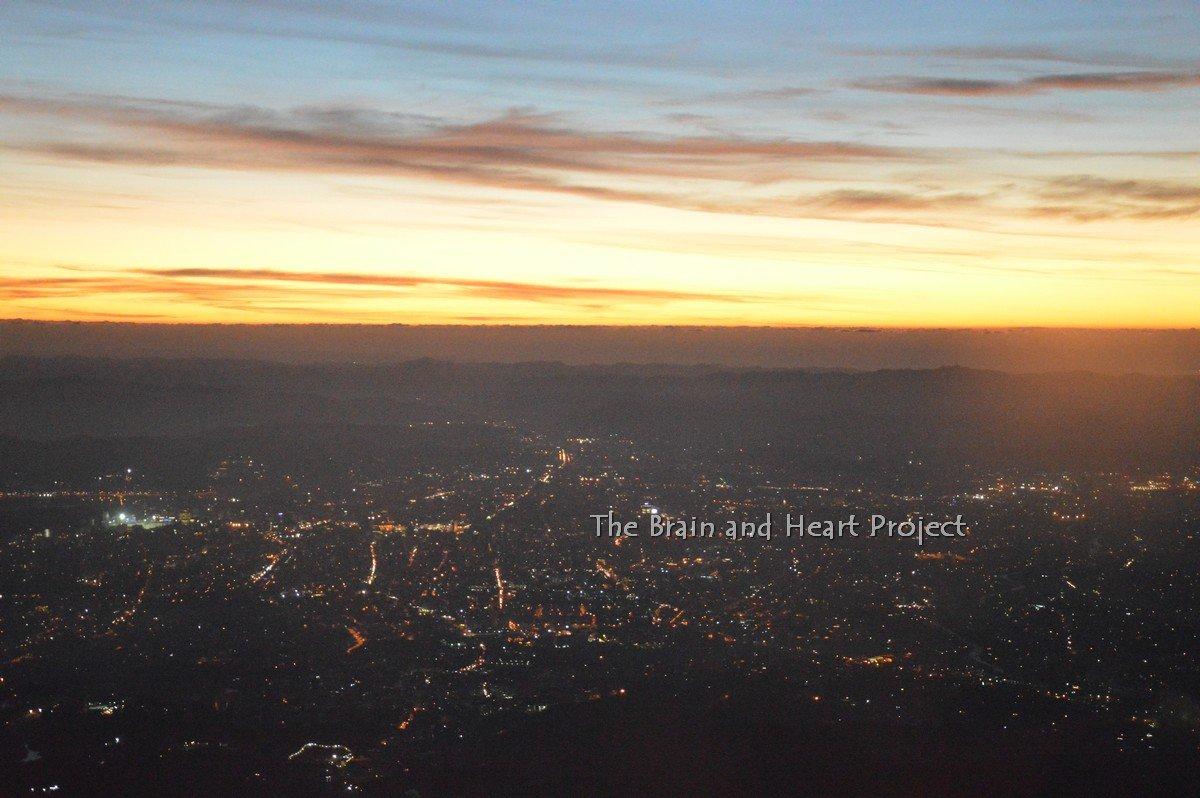 Tirana al tramonto vista dal monte Dajti